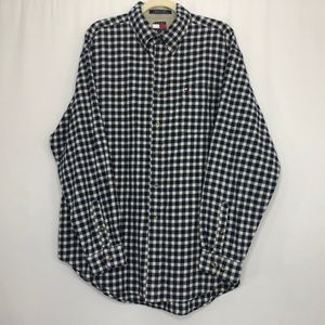 Tommy Hilfiger Blue & White Flannel Button Down